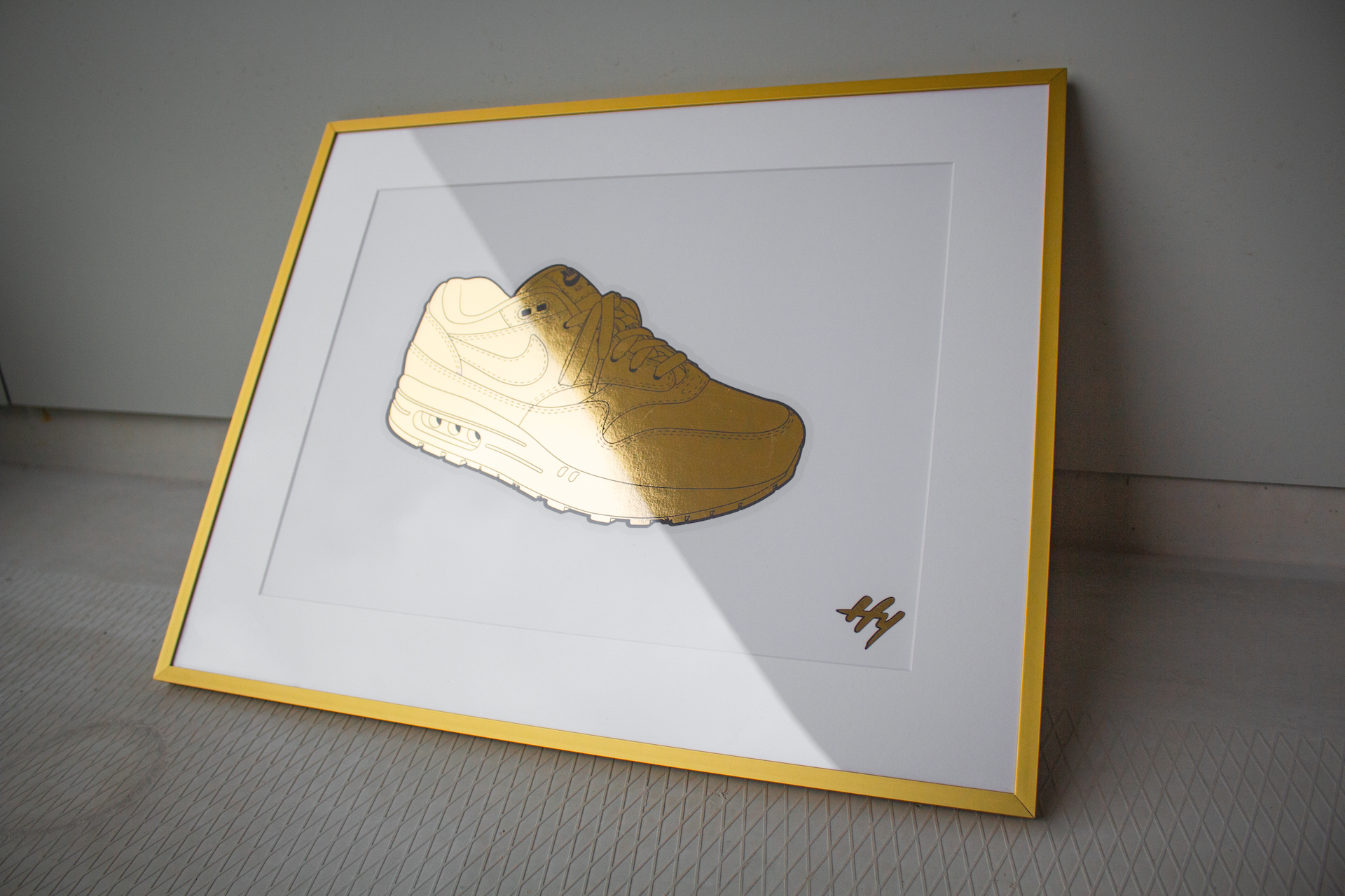 Golden Nike Air Max Sneaker Art Print