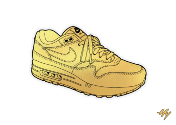 Golden Nike Air Max Sneaker Art Print