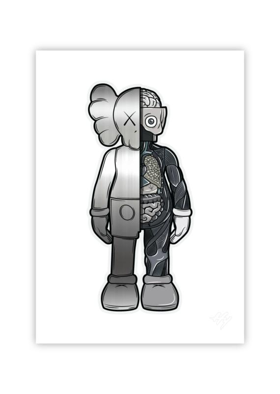 Hyprints KAWS Companion reflective silver print