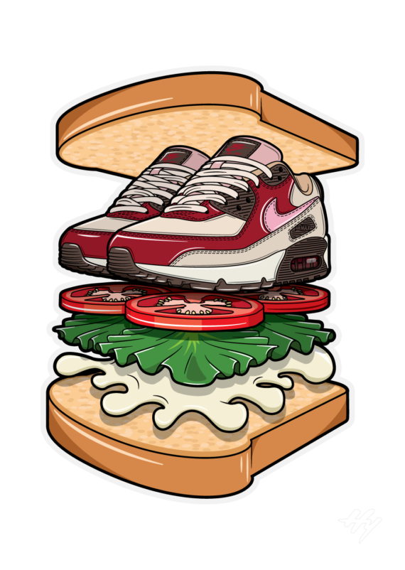 Nike Air Max 90 Bacon BLT Sandwich Sneaker Art Hyprints