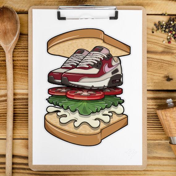 Nike Air Max 90 Bacon BLT Sandwich Sneaker Art Hyprints