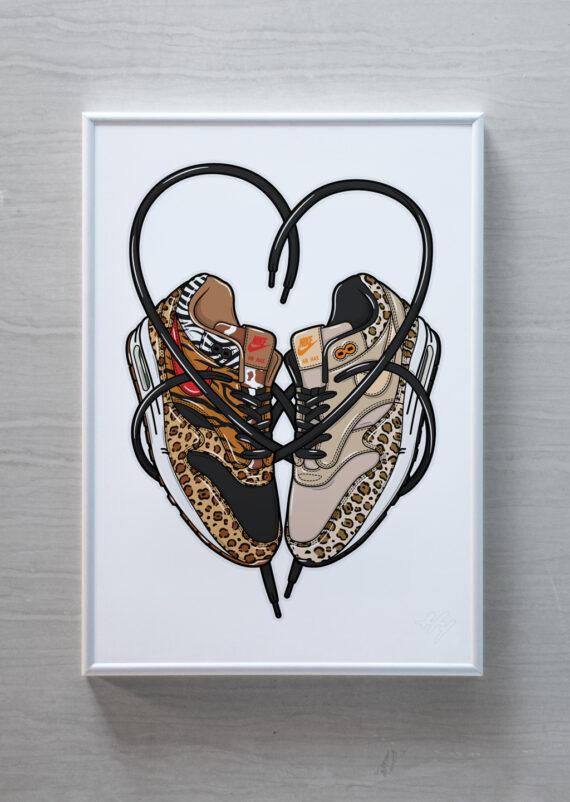 Valentine Love is in the Air Max 1 Nike sneaker art print Hyprints