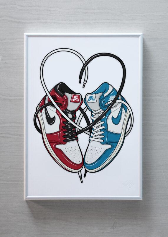 Valentine Love is in the Air Jordan 1 Nike sneaker art print Hyprints