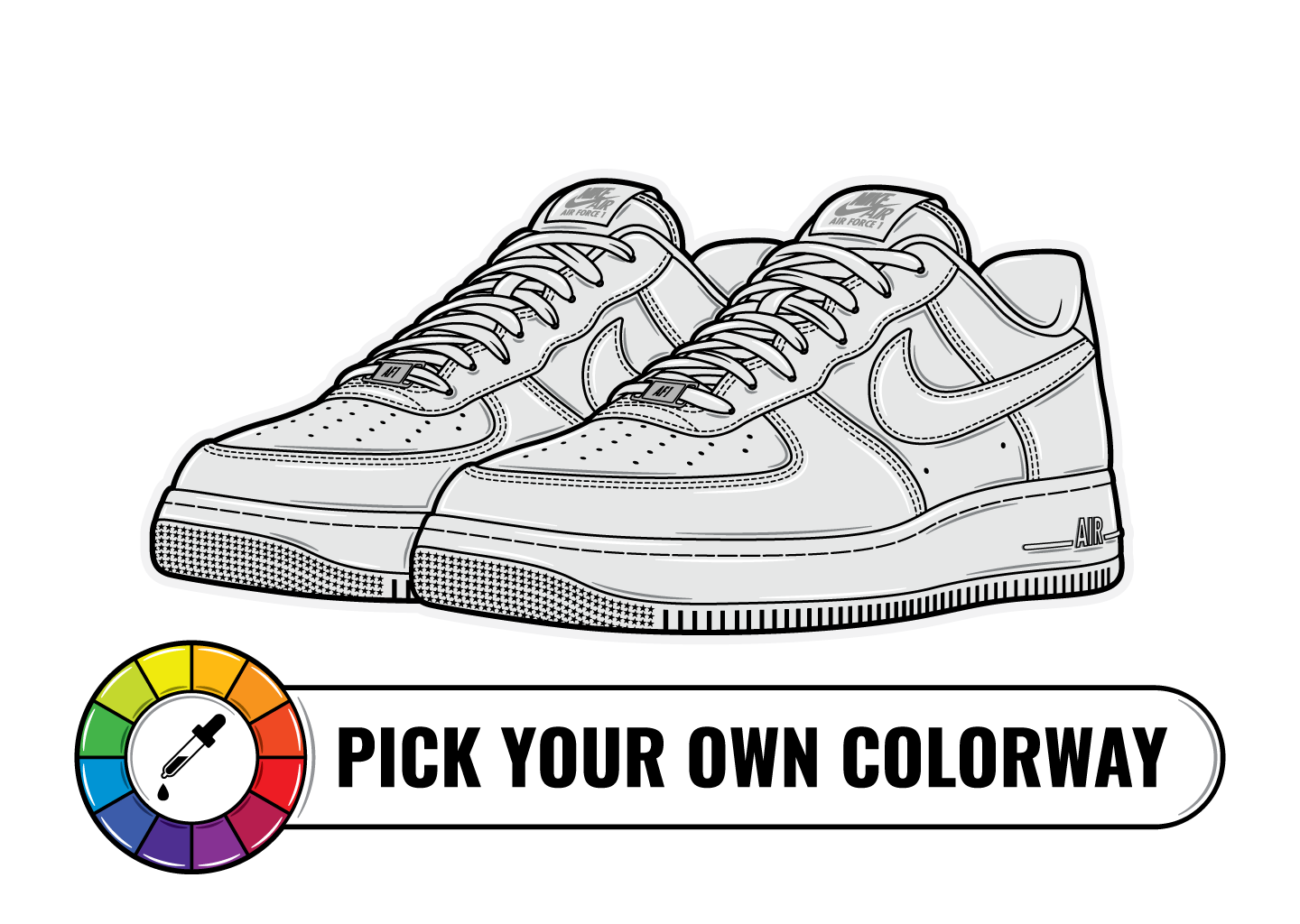 Hyprints pick you own color shoe sneaker art nike air force 1