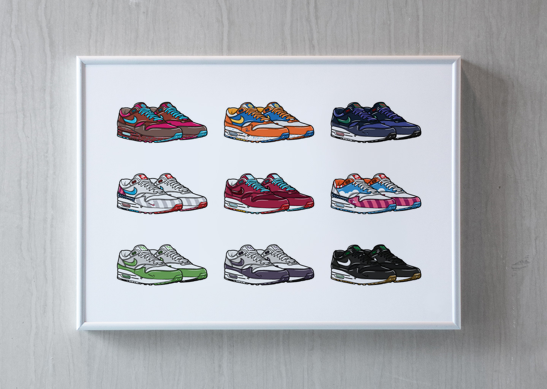 Hollands Finest sneaker art print hyprints nike air max 1 parra patta